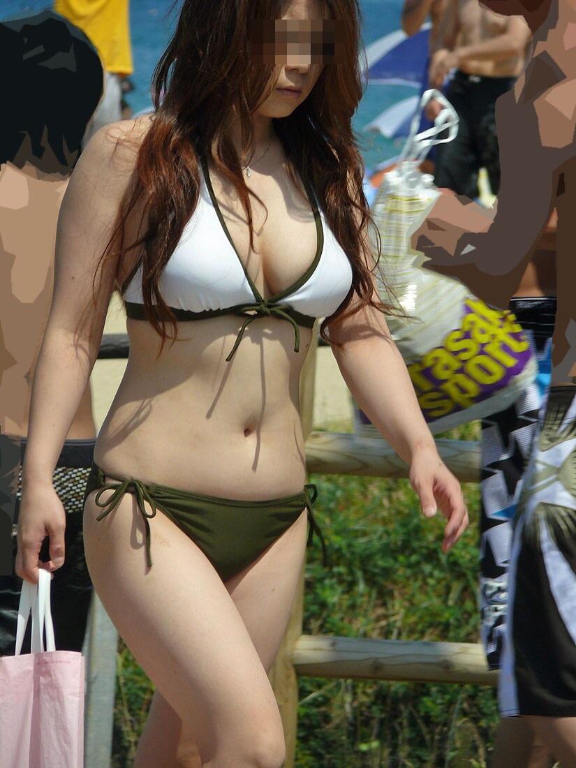 【素人水着エロ画像】素人娘たちの生々しい水着姿に勃起するやつちょっと来い! 12