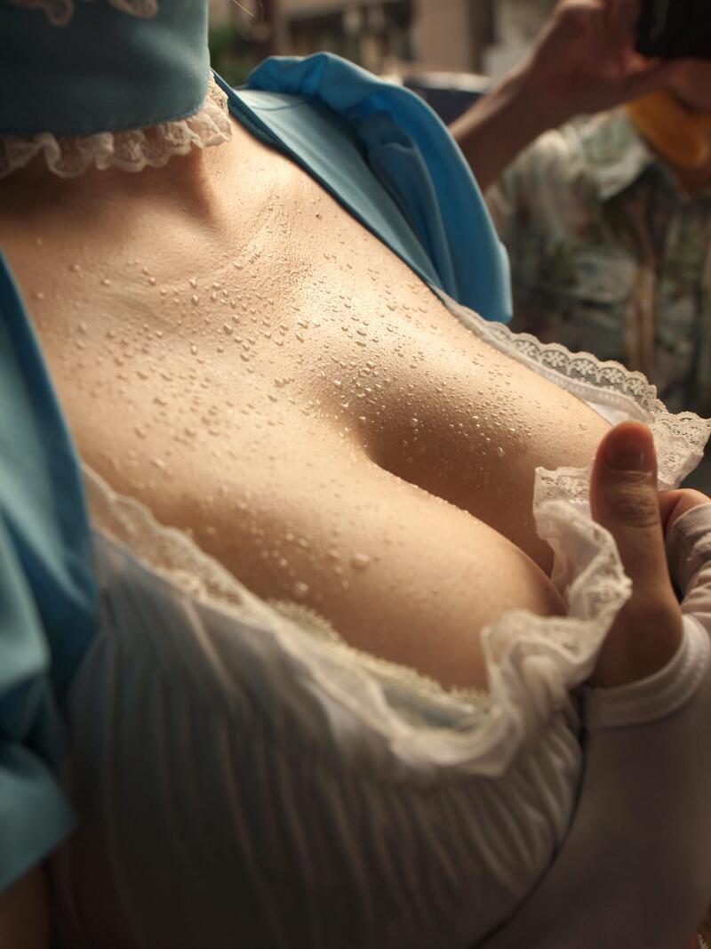 【汗だくエロ画像】エアコン切って汗だくでフェラや高速ピストンしてびしょ濡れ状態でセックスした汗だくエロ画像集w 73
