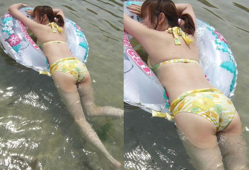 【水着盗撮エロ画像】ビーチやプールでビキニギャル達のエロ尻やまんすじ食い込みを盗撮しまくった水着盗撮のエロ画像集!ww 55