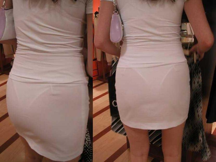 【透けパンエロ画像】街中で盗撮された奇跡!タイトスカートや白ズボンの素人お姉さん達が透けパンしちゃってるエロ画像集!ww 09