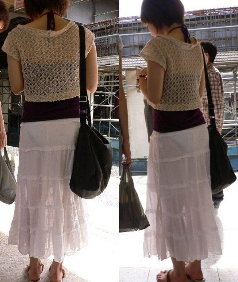 【透けパンエロ画像】街中で盗撮された奇跡!タイトスカートや白ズボンの素人お姉さん達が透けパンしちゃってるエロ画像集!ww 55