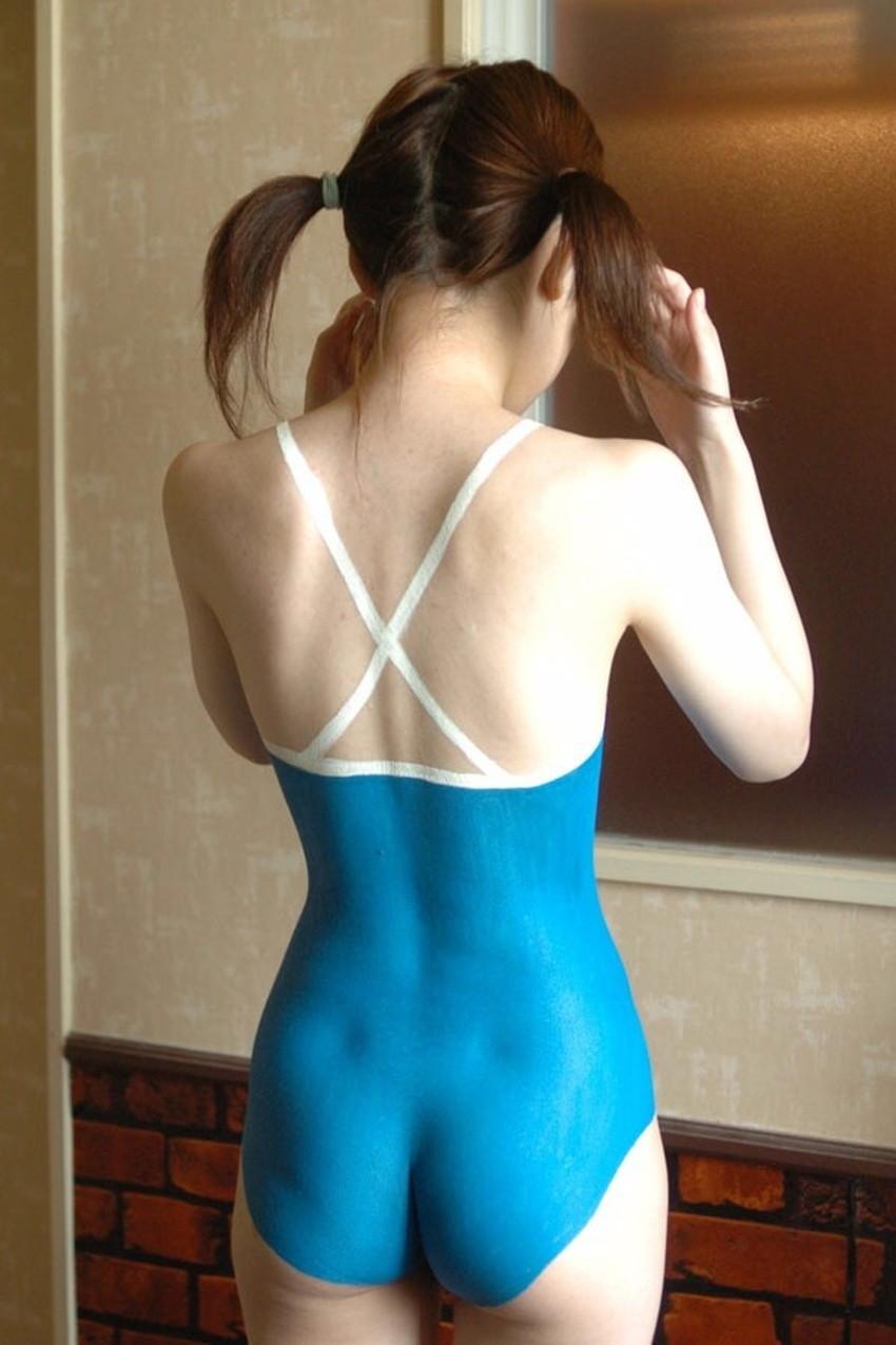 【ボディペイントエロ画像】全裸なのにボディペイントで着衣に見せかけ野外で露出狂プレイを堪能するボディペイントのエロ画像集ww!ww【80枚】 58