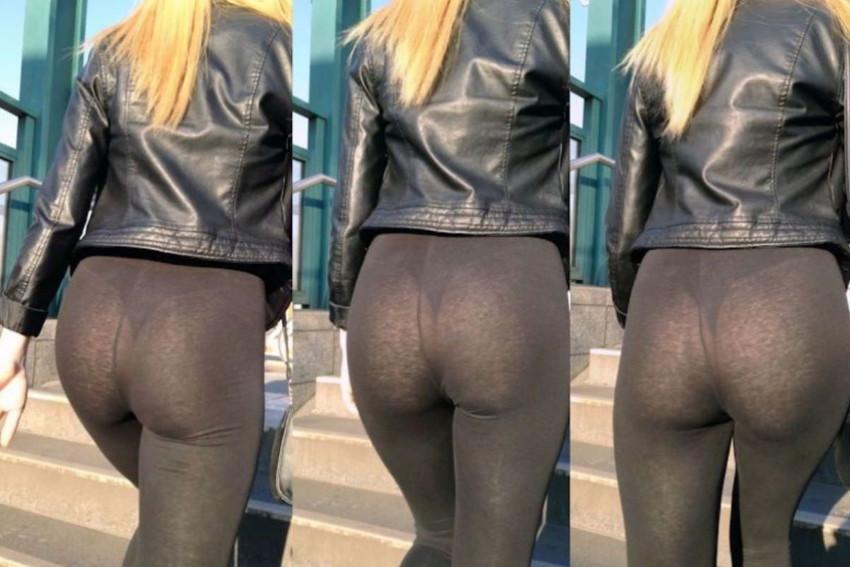 【レギンス女子エロ画像】パンティー透けてパン線丸見えのレギンスを履いて歩いてる無防備過ぎるレギンス女子のエロ画像集ww【80枚】 15