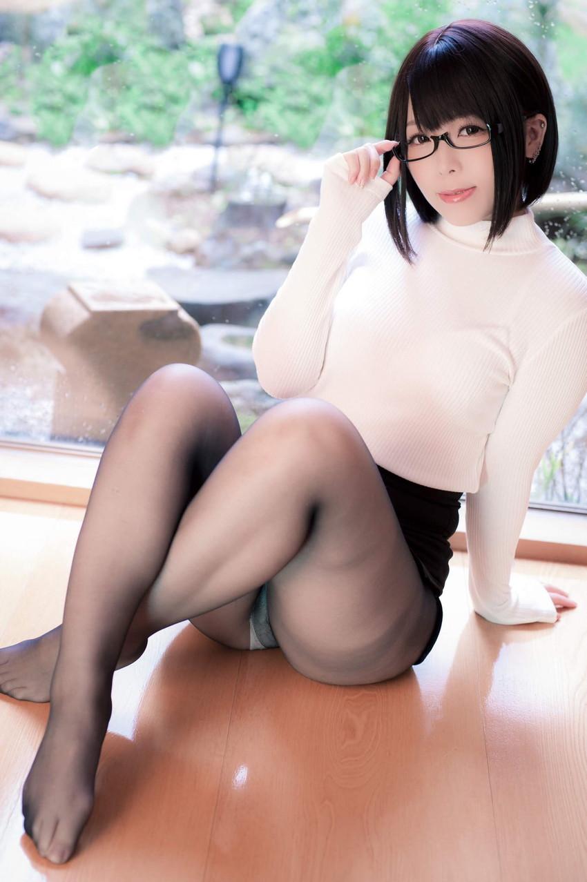 【薄いパンストエロ画像】パンティーと美脚が透け透けになってる薄いパンストのエロ画像集!ww【80枚】 70