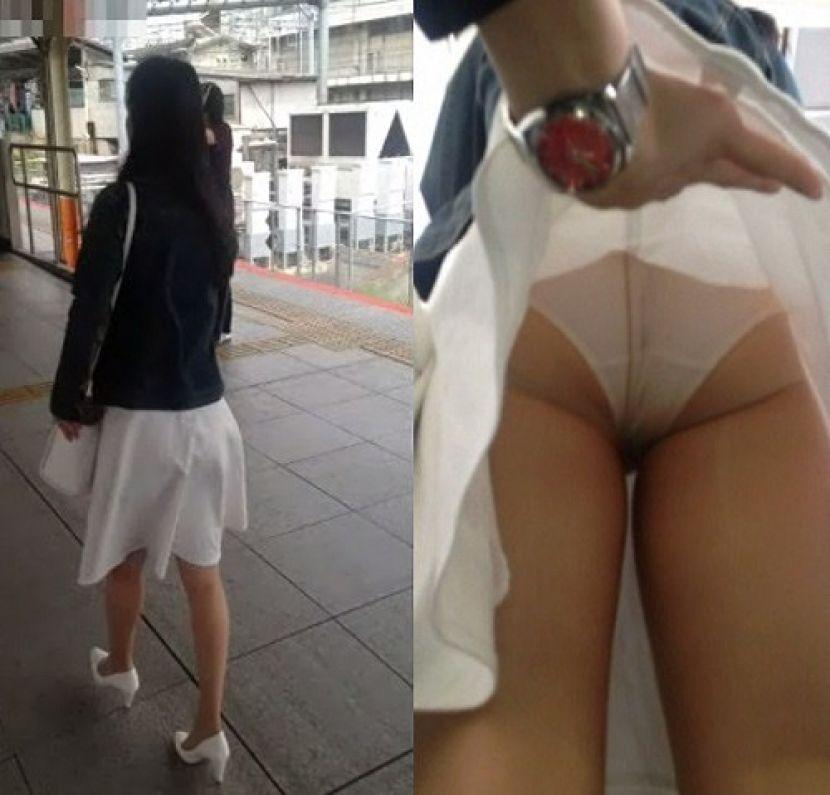 【スカートめくりエロ画像】素人娘に後ろから近づきスカートめくりでパンモロさせたり、スカート巾着めくりで全裸露出させちゃったスカートめくりのエロ画像集!ww【80枚】 41