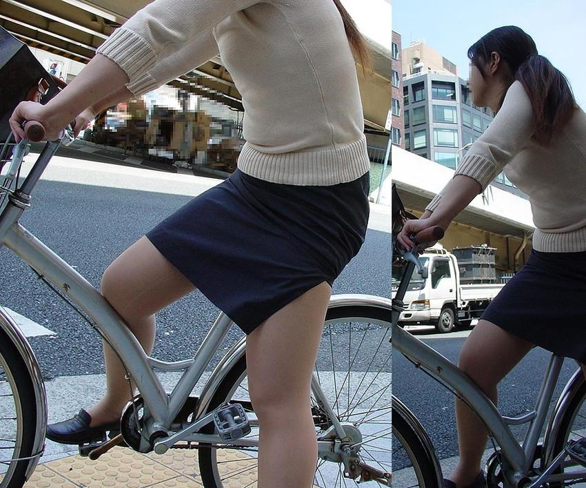 【自転車OLエロ画像】OLスーツのタイトスカートの太ももや美尻、パンチラが堪らなさすぎるOL自転車のエロ画像集!ww【80枚】 62