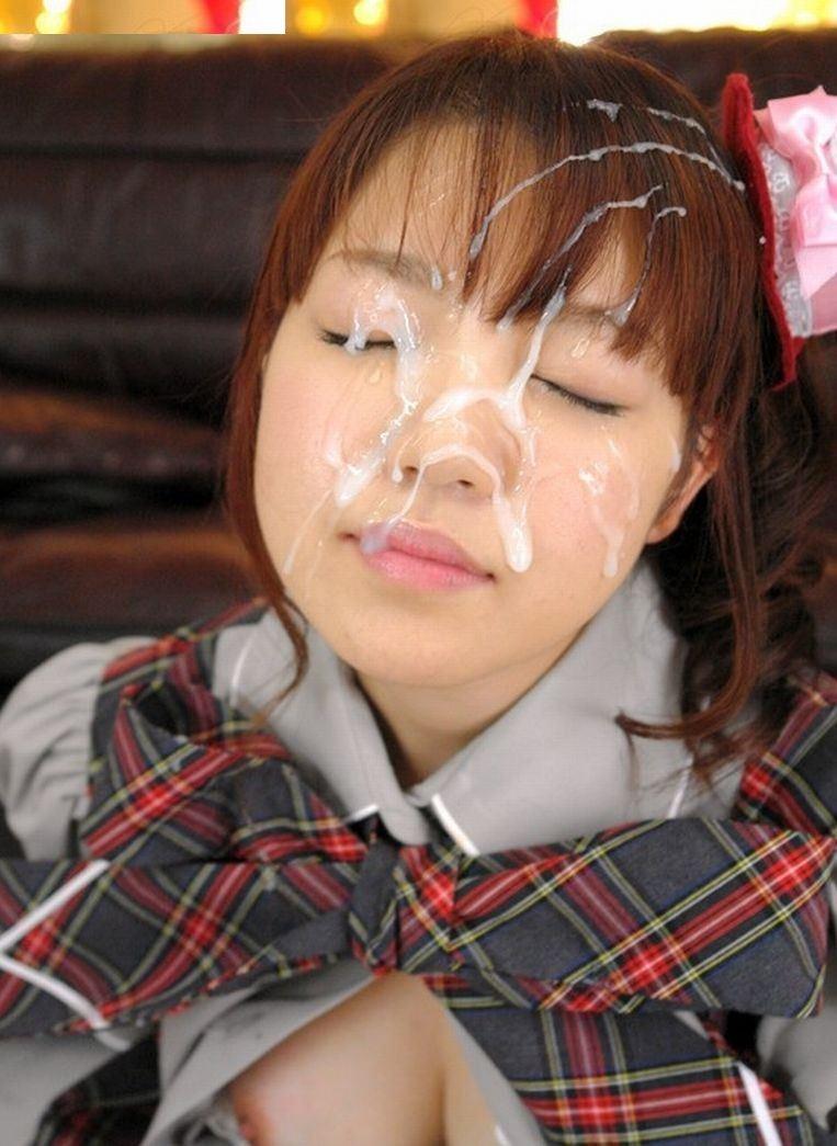【顔射エロ画像】ロリ美少女や生意気な小悪魔ギャルに大量顔射wキレイなお顔がザーメンまみれの顔射エロ画像集!ww【80枚】 47