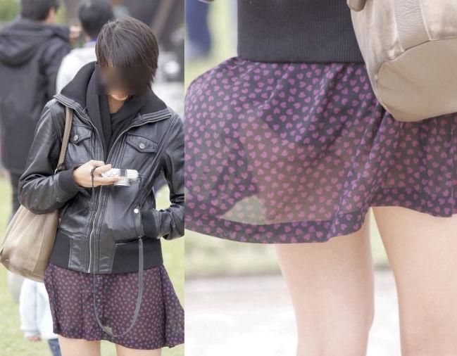 【透けスカートエロ画像】スカート透けてパンティー丸見えなのに気づかない素人女子たちの透けスカートのエロ画像集!ww【80枚】 12