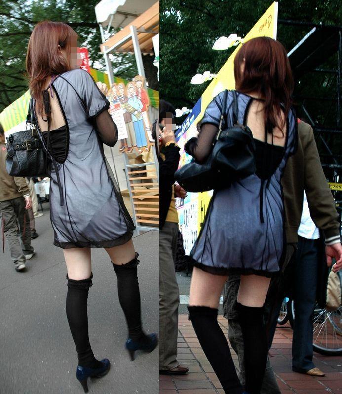 【透けスカートエロ画像】スカート透けてパンティー丸見えなのに気づかない素人女子たちの透けスカートのエロ画像集!ww【80枚】 67