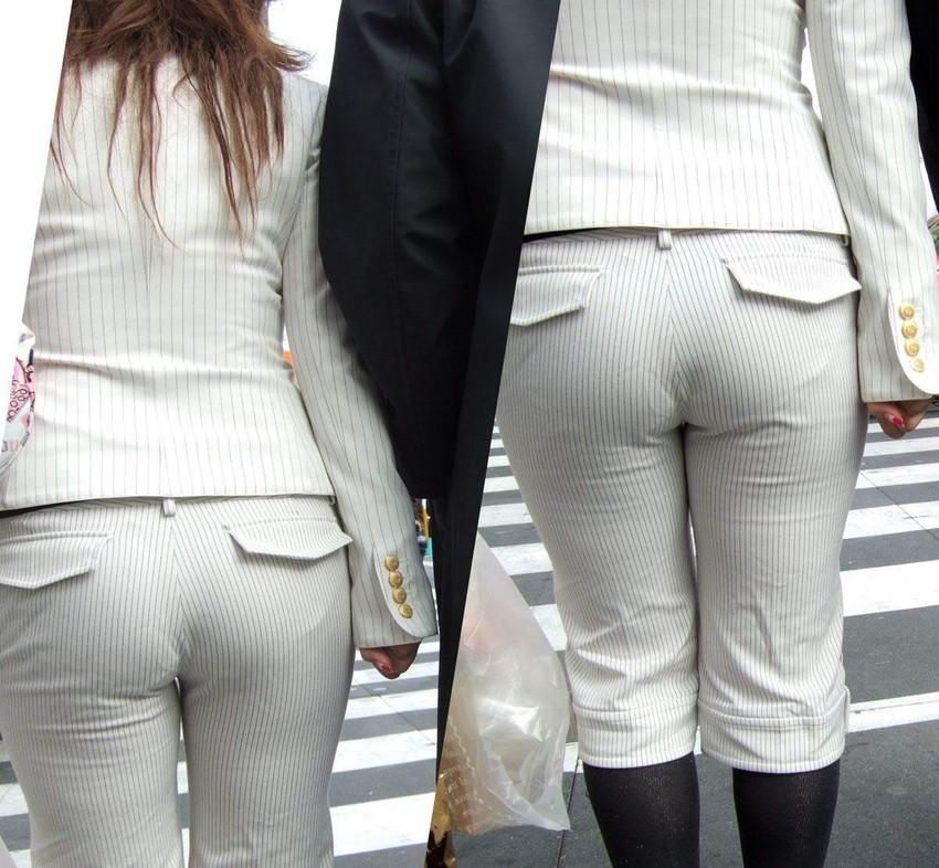 【パンツスーツエロ画像】キャリアウーマン風のパンツスーツOLのパンティーラインを盗撮したり着衣セックスで調教しちゃったパンツスーツのエロ画像集!ww【80枚】 03