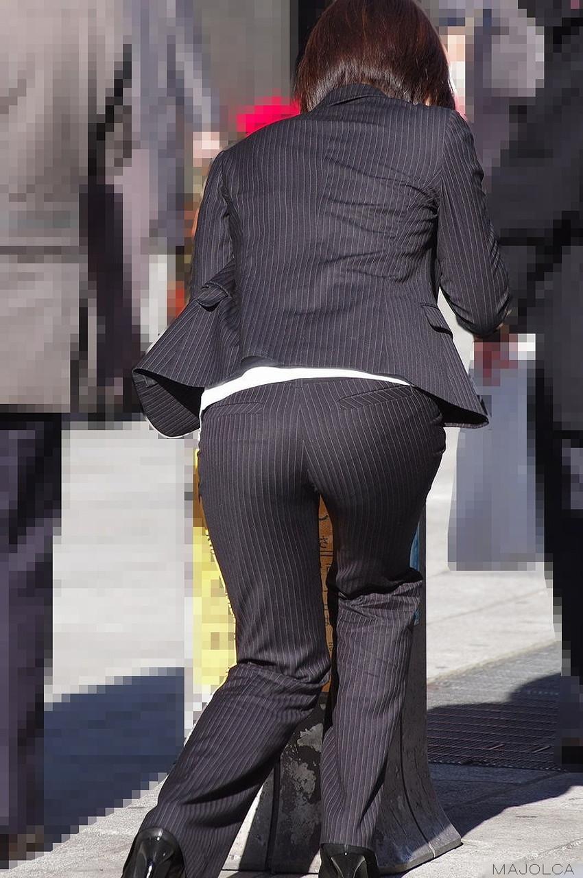 【パンツスーツエロ画像】キャリアウーマン風のパンツスーツOLのパンティーラインを盗撮したり着衣セックスで調教しちゃったパンツスーツのエロ画像集!ww【80枚】 44