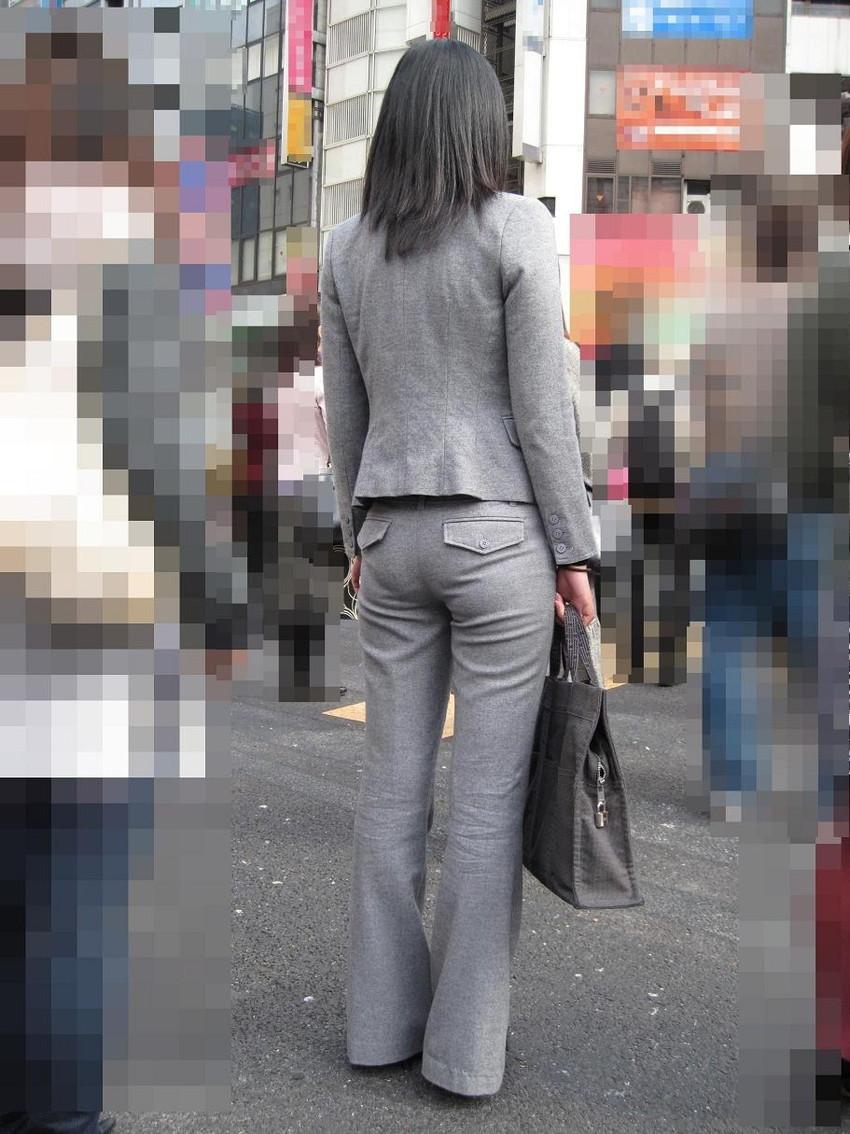 【パンツスーツエロ画像】キャリアウーマン風のパンツスーツOLのパンティーラインを盗撮したり着衣セックスで調教しちゃったパンツスーツのエロ画像集!ww【80枚】 66