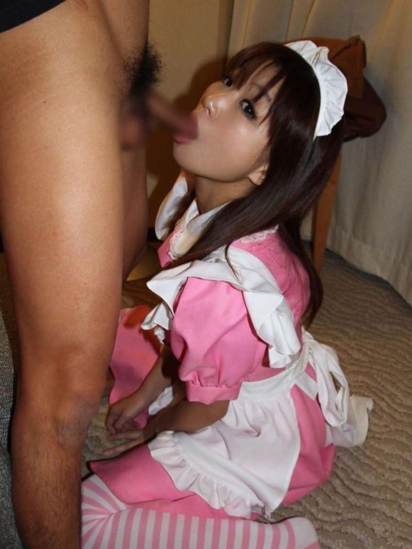 【メイドフェラエロ画像】癒やし系メイドにちんぽをお掃除してもらったメイドフェラのエロ画像集ww【80枚】 73