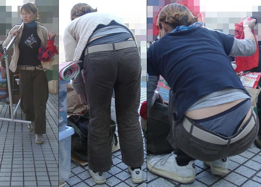 【腰パンチラエロ画像】しゃがんだ素人娘の背中からパンティーやTバック、尻のワレメやパンツのタグが丸見え状態になってる腰パンチラのエロ画像集ww【80枚】 19