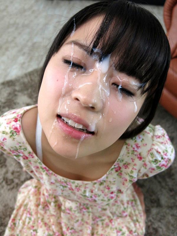【顔射エロ画像】顔にベットリとかけられたザーメンが卑猥すぎ!www 02