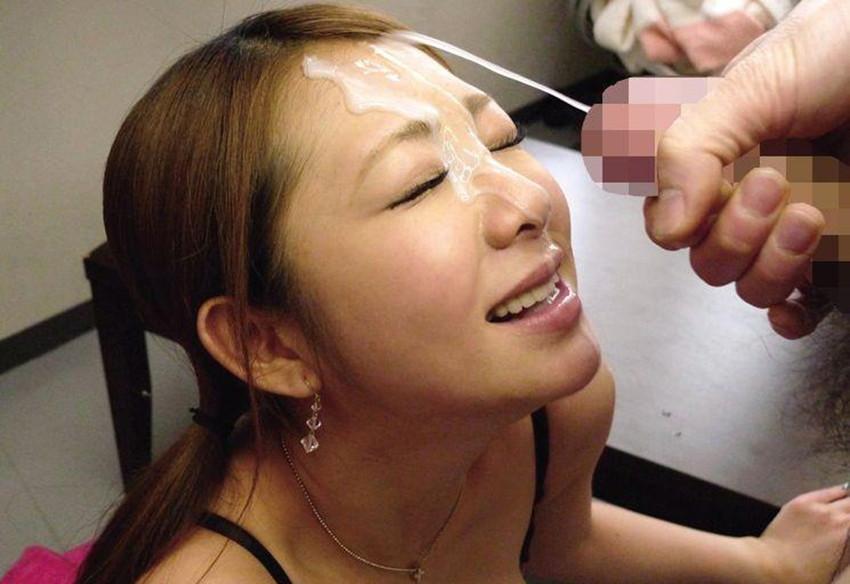 【顔射エロ画像】顔にベットリとかけられたザーメンが卑猥すぎ!www 18