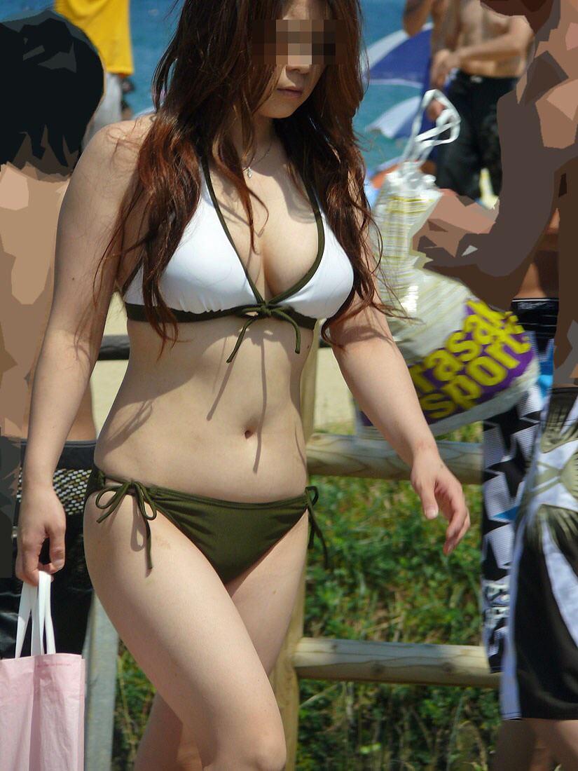 【素人水着エロ画像】素人娘たちの水着姿って生々しくて見ているだけでも勃起するw 32