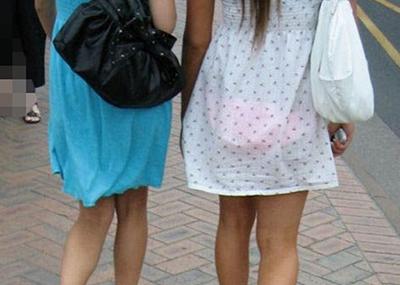 【街撮り着衣透けエロ画像】街中で着衣の透けてる女の子を激写したった!