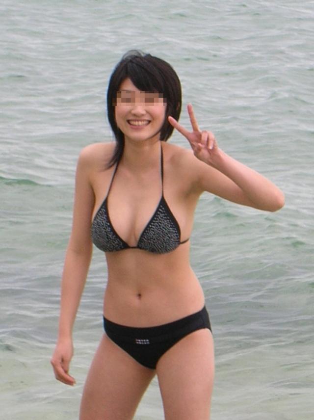 【素人水着エロ画像】いよいよ夏終了間近!素人娘たちの水着姿も見納めか!? 36