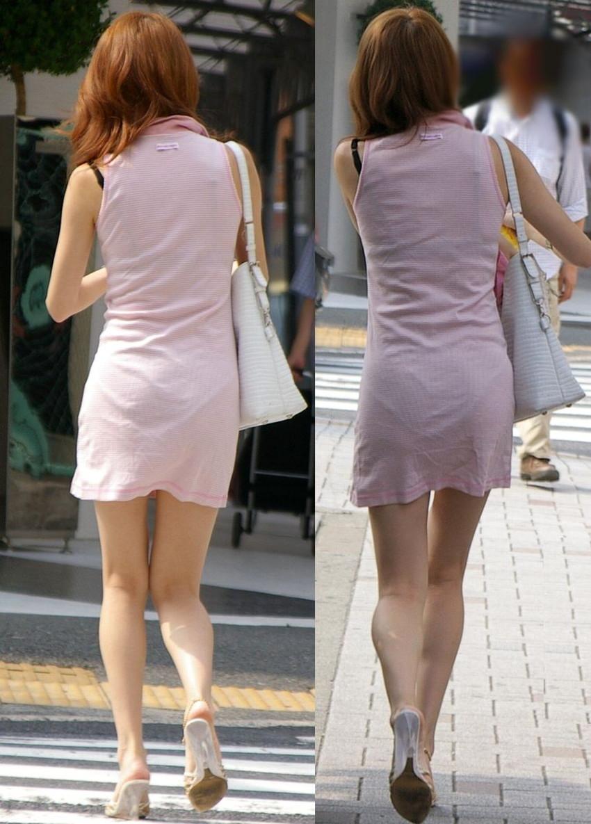 【素人着衣透けエロ画像】街中で着衣が透けていることに気づかない素人娘たち! 38