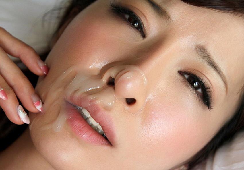 【顔射エロ画像】顔射されて顔面がザーメンにまみれた女の子の表情がソソる! 45