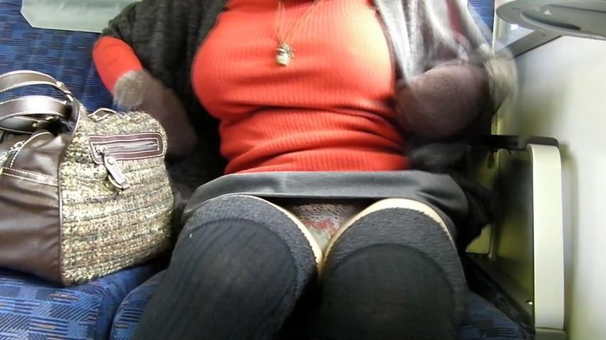 【電車内盗撮エロ画像】電車内で見つけた胸チラ、パンチラ集めてみたぞ! 26