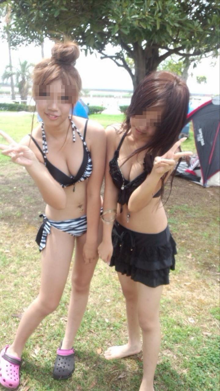 【素人水着エロ画像】こんな寒い時期だけど夏の素人の女の子たちの水着が見たい!w 48