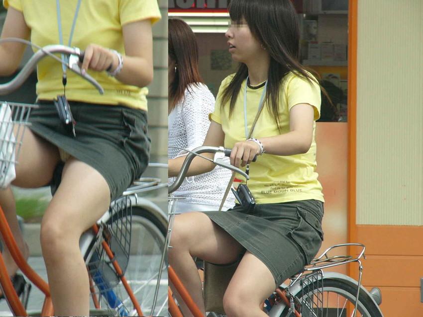 【自転車娘盗撮エロ画像】おいしそうな太ももにパンチラ!自転車娘を激写! 36